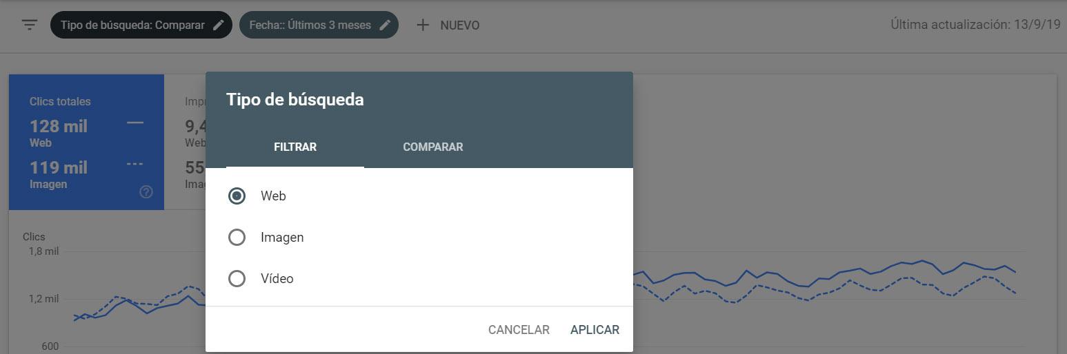filtro de google search console