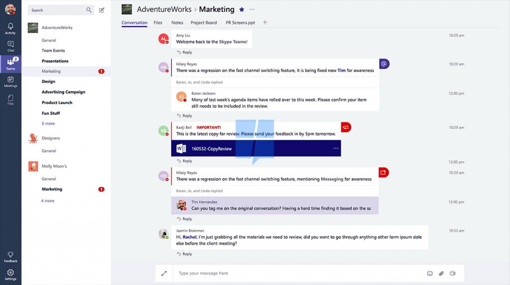 Chat en Teams de Office
