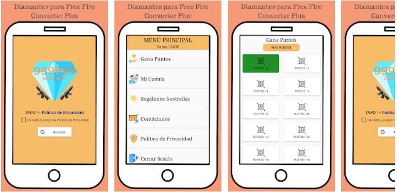 Aplicacion Diamantes Gratis para Free Fire Plus