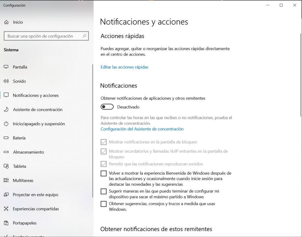 desactivar las notificaciones en windows