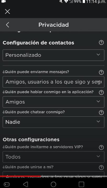 deshabilitar el chat en roblox en android