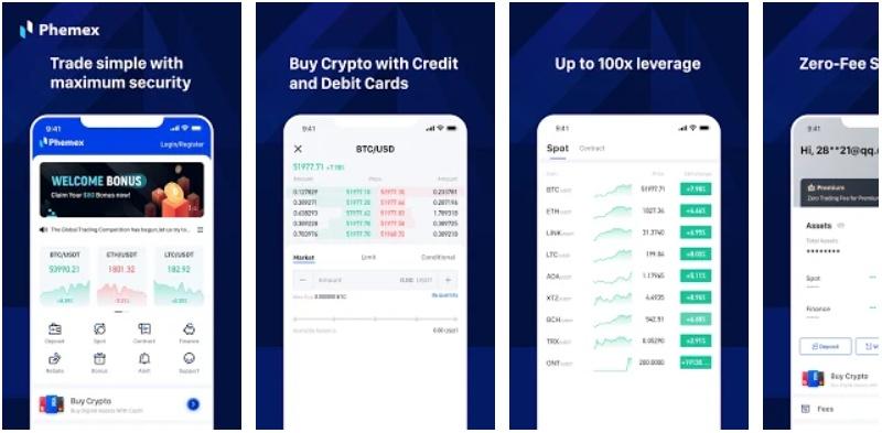 Phemex compra y venta de Bitcoin en Android
